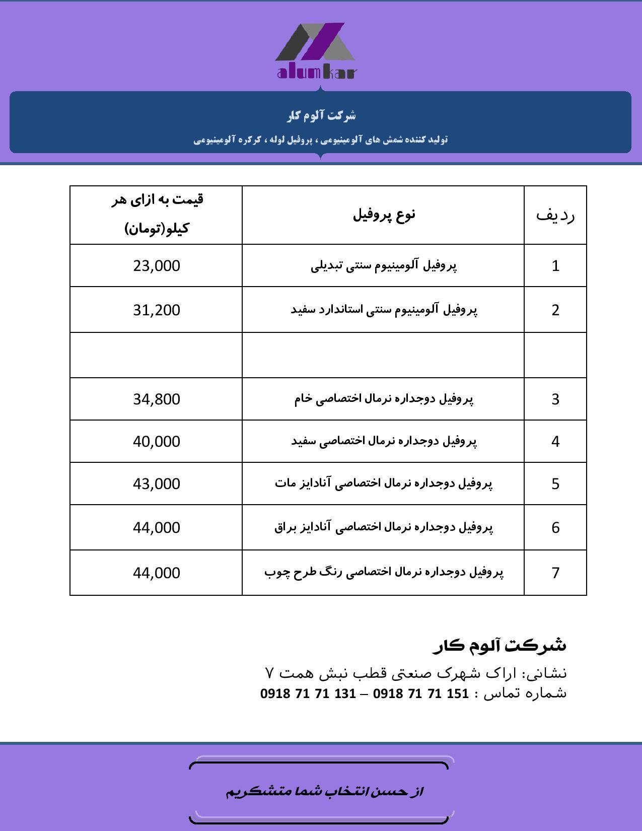 جدول قیمت پروفیل آلومینیوم